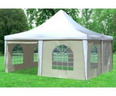 """5x5 m Pavillon ARABICA PVC 400 g/m² - wasserdicht - Weiß Beige inkl. Seitenwänden mit Fenster"""" """""""