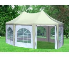 """4x5,5 m Pavillon ARABICA PVC 400 g/m² - wasserdicht - Beige Weiß inkl. Seitenwänden mit Fenster"""" """""""