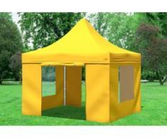 """3x3 m Faltpavillon Prof.+ ALU Polyester 330 g/m² - 100 % wasserdicht - Gelb inkl. Seitenwänden mit Fenster"""" """""""