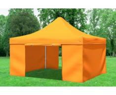 """4x4 m Faltpavillon Prof.+ ALU Polyester 330 g/m² - 100 % wasserdicht - Orange inkl. Seitenwänden"""" """""""