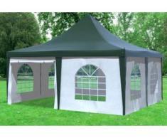"""5x5 m Pavillon ARABICA PVC 400 g/m² - wasserdicht - Grün Weiß inkl. Seitenwänden mit Fenster"""" """""""