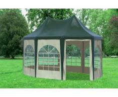 """3x4,1 m Pavillon ARABICA PVC 400 g/m² - wasserdicht - Grün Beige inkl. Seitenwänden mit Fenster"""" """""""