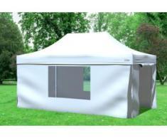 """3x4,5 m Faltpavillon Prof.+ ALU Polyester 330 g/m² - 100 % wasserdicht - Weiß inkl. Seitenwänden mit Fenster"""" """""""