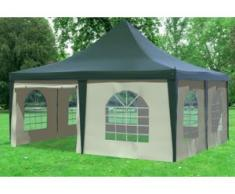 """5x5 m Pavillon ARABICA PVC 400 g/m² - wasserdicht - Grün Beige inkl. Seitenwänden mit Fenster"""" """""""