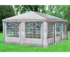 """4x6 m Pavillon DELUXE Polyester-PVC 280 g/m² - wasserdicht - Braun inkl. Seitenwänden mit Fenster"""" """""""