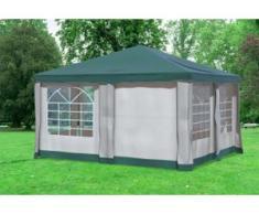 """4x4 m Pavillon DELUXE Premium-PVC 400 g/m² - wasserdicht - Grün inkl. Seitenwänden mit Fenster"""" """""""
