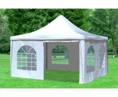 """4x4 m Pavillon ARABICA PVC 400 g/m² - wasserdicht - Weiß inkl. Seitenwänden mit Fenster"""" """""""