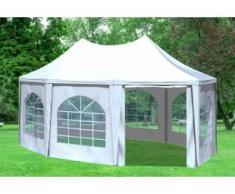 """4x5,5 m Pavillon ARABICA PVC 400 g/m² - wasserdicht - Weiß inkl. Seitenwänden mit Fenster"""" """""""