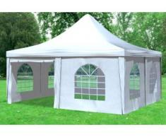"""5x5 m Pavillon ARABICA PVC 400 g/m² - wasserdicht - Weiß inkl. Seitenwänden mit Fenster"""" """""""