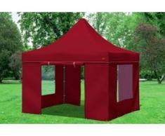 """3x3 m Faltpavillon PREMIUM STAHL Polyester 330 g/m² - 100 % wasserdicht - Bordeaux inkl. Seitenwänden mit Fenster"""" """""""
