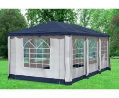 """3x6 m Pavillon DELUXE Polyester-PVC 280 g/m² - wasserdicht - Blau inkl. Seitenwänden mit Fenster"""" """""""