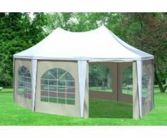"""4x5,5 m Pavillon ARABICA PVC 400 g/m² - wasserdicht - Weiß Beige inkl. Seitenwänden mit Fenster"""" """""""