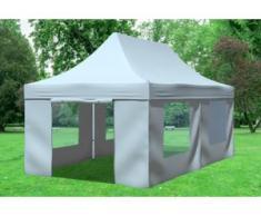 """3x6 m Faltpavillon Professional ALU Polyester 330 g/m² - 100 % wasserdicht - Grau inkl. Seitenwänden mit Fenster"""" """""""