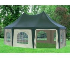 """5x6,8 m Pavillon ARABICA PVC 400 g/m² - wasserdicht - Grün Beige inkl. Seitenwänden mit Fenster"""" """""""