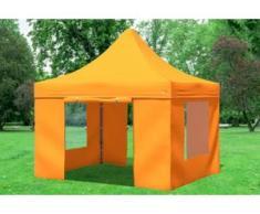 """3x3 m Faltpavillon PREMIUM STAHL Polyester 330 g/m² - 100 % wasserdicht - Orange inkl. Seitenwänden mit Fenster"""" """""""