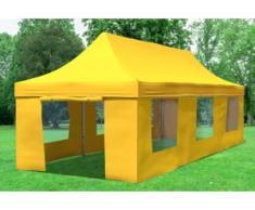 """3x9 m Faltpavillon Prof.+ ALU Polyester 330 g/m² - 100 % wasserdicht - Gelb inkl. Seitenwänden mit Fenster"""" """""""