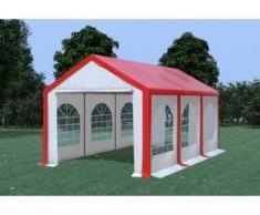 Partyzelt Pavillon 3x6m Modular Pro PVC wasserdicht rot / weiß
