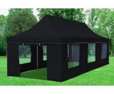 """3x9 m Faltpavillon Prof.+ ALU Polyester 330 g/m² - 100 % wasserdicht - Schwarz inkl. Seitenwänden mit Fenster"""" """""""