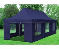 """3x9 m Faltpavillon Prof.+ ALU Polyester 330 g/m² - 100 % wasserdicht - Blau inkl. Seitenwänden mit Fenster"""" """""""