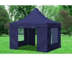 """3x3 m Faltpavillon PREMIUM STAHL Polyester 330 g/m² - 100 % wasserdicht - Blau inkl. Seitenwänden mit Fenster"""" """""""