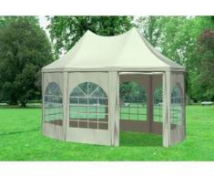"""3x4,1 m Pavillon ARABICA PVC 400 g/m² - wasserdicht - Beige inkl. Seitenwänden mit Fenster"""" """""""