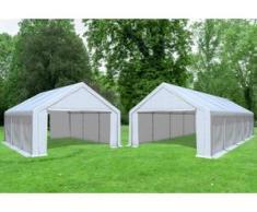 """Kombi 2in1 5x6 zu 5x10 m Partyzelt, Lagerzelt Modular Prof PVC 500 g/m² - wasserdicht - Weiß inkl. Seitenwänden"""" """""""