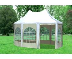 """3x4,1 m Pavillon ARABICA PVC 400 g/m² - wasserdicht - Weiß Beige inkl. Seitenwänden mit Fenster"""" """""""