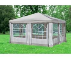 """4x4 m Pavillon DELUXE Polyester-PVC 280 g/m² - wasserdicht - Braun inkl. Seitenwänden mit Fenster"""" """""""