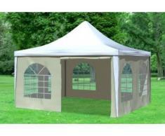"""4x4 m Pavillon ARABICA PVC 400 g/m² - wasserdicht - Weiß Beige inkl. Seitenwänden mit Fenster"""" """""""