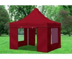 """3x3 m Faltpavillon Prof.+ ALU Polyester 330 g/m² - 100 % wasserdicht - Bordeaux inkl. Seitenwänden mit Fenster"""" """""""