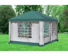 """3x4 m Pavillon DELUXE Polyester-PVC 280 g/m² - wasserdicht - Grün inkl. Seitenwänden mit Fenster"""" """""""