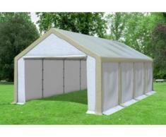 """4x8 m Partyzelt, Lagerzelt Modular Professional PVC 500 g/m² - wasserdicht - Braun Weiß inkl. Seitenwänden"""" """""""