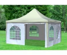 """4x4 m Pavillon ARABICA PVC 400 g/m² - wasserdicht - Beige Weiß inkl. Seitenwänden mit Fenster"""" """""""