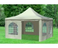 """4x4 m Pavillon ARABICA PVC 400 g/m² - wasserdicht - Beige inkl. Seitenwänden mit Fenster"""" """""""