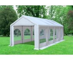 """3x8 m Partyzelt Modular Professional PVC 500 g/m² - wasserdicht - Weiß inkl. Seitenwänden mit Fenster"""" """""""