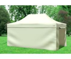 """3x4,5 m Faltpavillon Professional ALU Polyester 330 g/m² - 100 % wasserdicht - Beige inkl. Seitenwänden"""" """""""