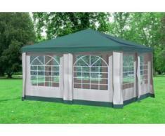 """4x4 m Pavillon DELUXE Polyester-PVC 280 g/m² - wasserdicht - Grün inkl. Seitenwänden mit Fenster"""" """""""