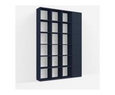 Individualisierbares Bücherregal aus Spanplatte in Blau. Moderne Designer-Möbel nach Maß.