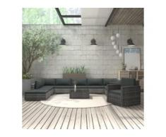 vidaXL 11-tlg. Garten-Lounge-Set mit Auflagen Poly Rattan Grau