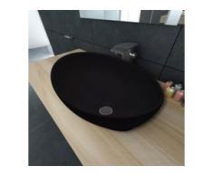 vidaXL Keramik Waschtisch Waschbecken Oval schwarz 40 x 33 cm