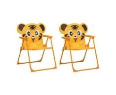 vidaXL Kinder-Gartenstühle 2 Stk. Gelb Stoff