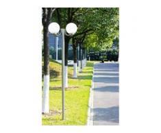 vidaXL Gartenlampe Straßenlaterne 2 flammig 220 cm Edelstahl