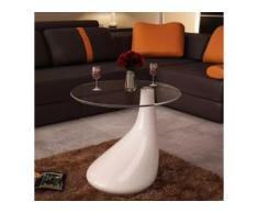 vidaXL Beistelltisch mit runder Glasplatte Hochglanz Weiß