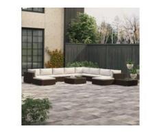 vidaXL 12-tlg. Garten-Lounge-Set mit Auflagen Poly Rattan Braun