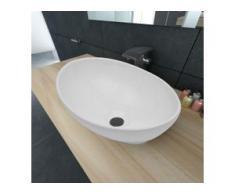 vidaXL Luxus Keramik Waschbecken Oval Weiß 40 x 33 cm