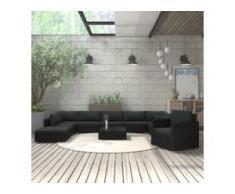 vidaXL 11-tlg. Garten-Lounge-Set mit Auflagen Poly Rattan Schwarz