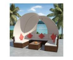 vidaXL 9-tlg. Garten-Lounge-Set mit Sonnendächern Poly Rattan Braun