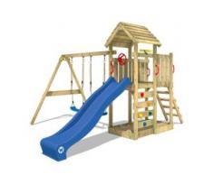 Spielturm mit Doppelschaukel und Holzdach MultiFlyer