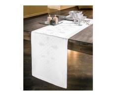 Kreuzstich-Tischdecken - Tannenbäume, Partnerläufer, 40 x 180 cm - Weiß