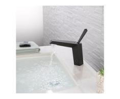 Design Wasserhahn Bad | Osmose Armatur Waschtischarmatur Einhebelmischer Mischbatterie | Waschbeckenarmatur für Badezimmer Waschbecken, Schwarz